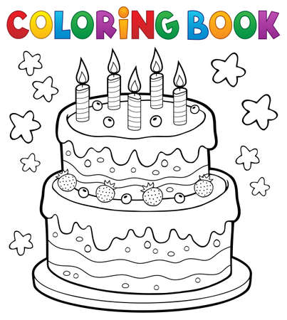 Coloring Book Cake With 5 Candles Vector Illustration. Royalty Free ...