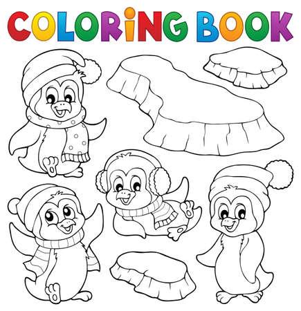 Coloring book happy winter penguins  vector illustration.