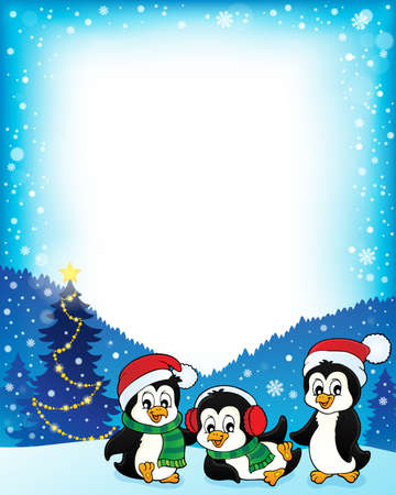 Christmas penguins thematic frame  vector illustration.