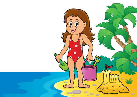 Girl playing on beach image   vector illustration.