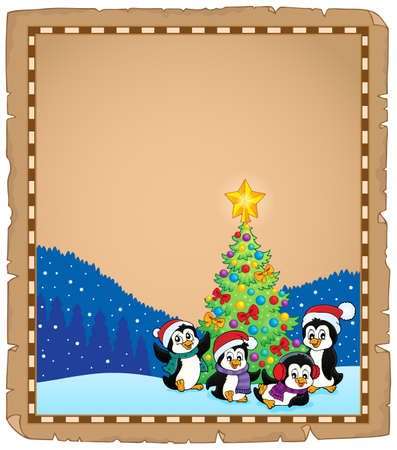 Christmas tree and penguins parchment 2 - eps10 vector illustration. Illustration