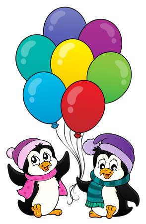 ハッピーパーティーペンギン画像1 - eps10ベクトルイラスト。  イラスト・ベクター素材