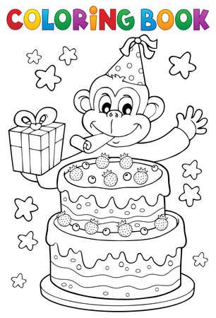 색칠하기 책 케이크와 파티 원숭이 -eps10 벡터 일러스트 레이 션. 일러스트