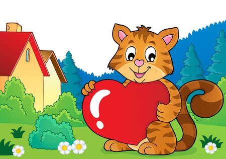 Valentine cat topic image Illustration