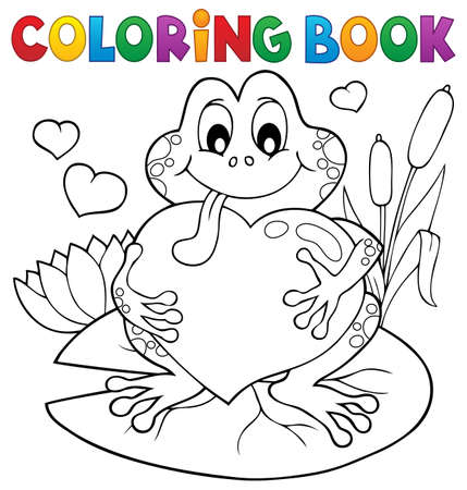 Coloring book Valentine frog Çizim