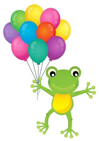 Frog with party balloons theme image