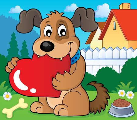 Valentine dog theme image Illustration