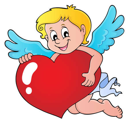 Cupid holding stylized heart image Vectores