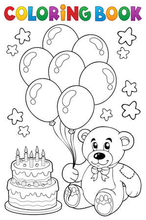 Coloring book teddy bear theme