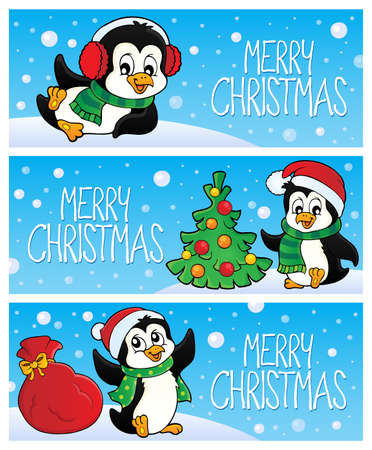 Merry Christmas topic banners with penguin vector illustration.