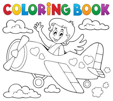 Coloring book Cupid topic Stock Illustratie