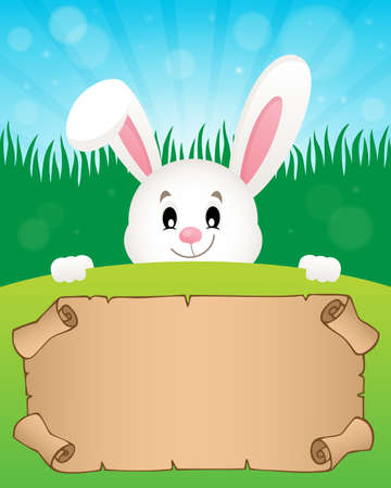 Parchment and Easter bunny theme vector illustration.
