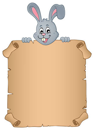 Lurking Easter bunny with parchment vector illustration. Illustration
