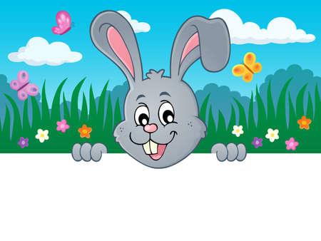 Lurking Easter bunny topic image vector illustration. Illustration