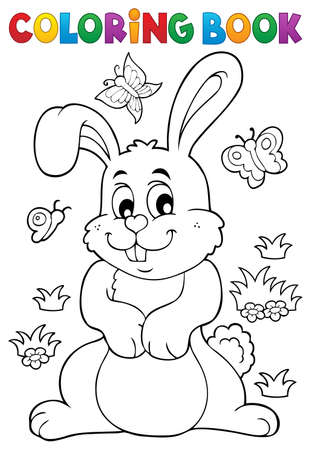 Coloring book rabbit theme vector illustration. 向量圖像