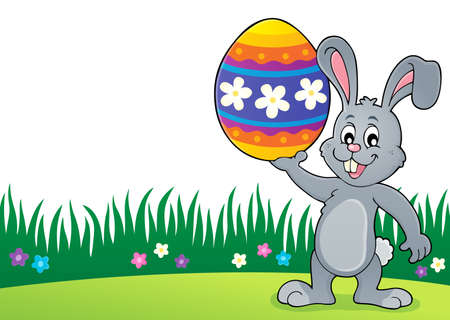 Bunny holding big Easter egg topic vector illustration.