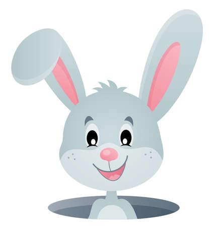 Rabbit lurking from hole image  vector illustration.