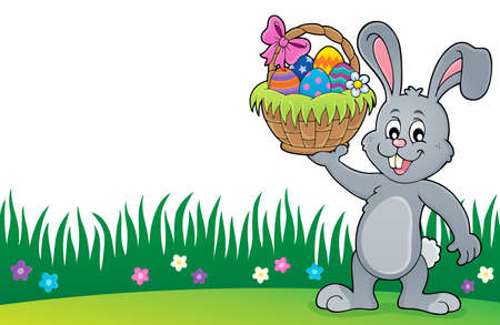 Bunny holding Easter basket topic vector illustration.