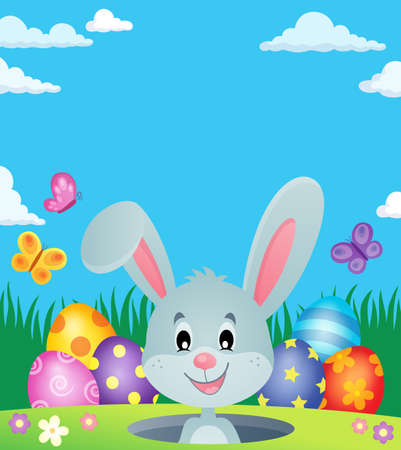 Easter eggs and lurking bunny theme vector illustration.