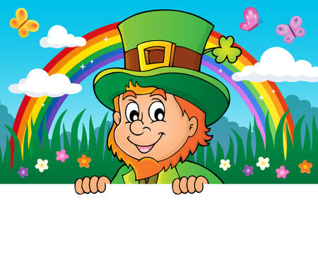 Lurking leprechaun topic image  with rainbow - vector illustration. Illustration