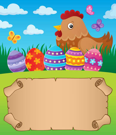 Small parchment with Easter hen and eggs - vector illustration.  イラスト・ベクター素材