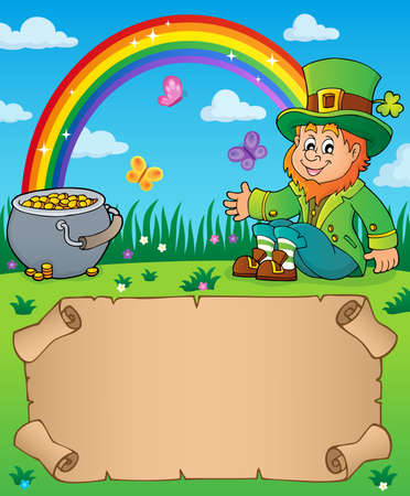 Small parchment with leprechaun theme with rainbow and money pot - vector illustration.