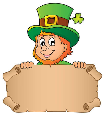 Leprechaun holding parchment image with clover - vector illustration.