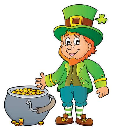Leprechaun theme image with money pot - vector illustration.