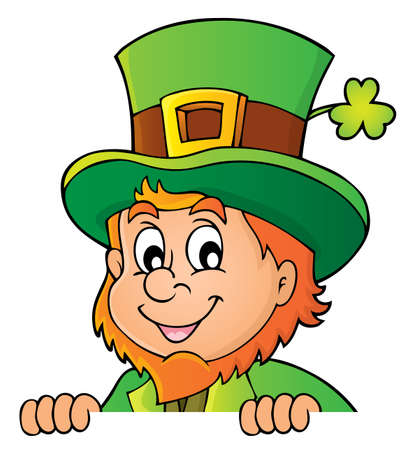 Lurking leprechaun topic image with clover - vector illustration. Illustration