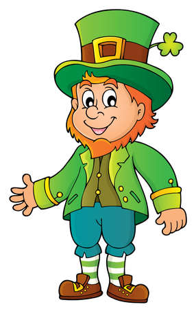 Leprechaun theme image with clover  - vector illustration. Illustration