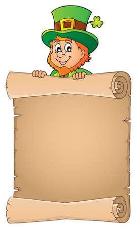 Leprechaun holding parchment image - vector illustration.