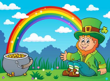Sitting leprechaun theme image with rainbow and pot money - vector illustration.