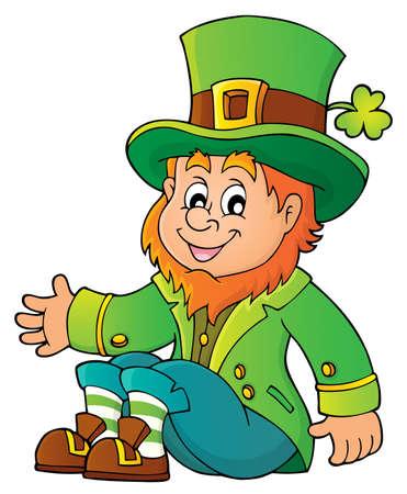 Sitting leprechaun theme image with clover - vector illustration.