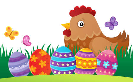 Easter hen theme image with eggs - vector illustration.