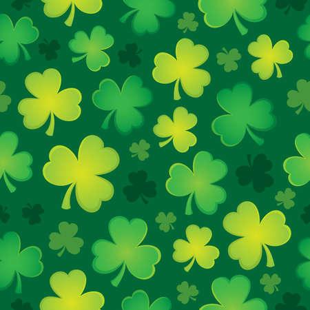 Three leaf clover seamless background - vector illustration.
