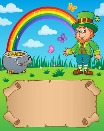 Small parchment with leprechaun theme with rainbow and pot money - vector illustration. Illustration