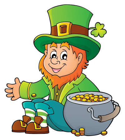 Sitting leprechaun theme image with pot money - vector illustration.