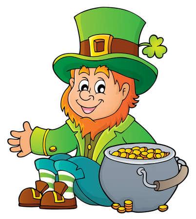 Sitting leprechaun theme image with pot money - vector illustration.