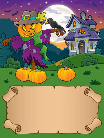 Small parchment and Halloween scarecrow - vector illustration. Stock Illustratie