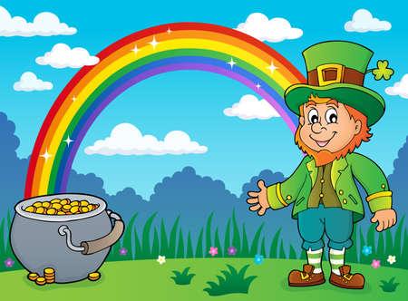 Leprechaun theme image with rainbow and pot money - vector illustration.
