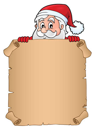 Lurking Santa Claus holding parchment - vector illustration.