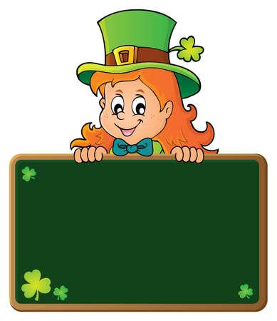 Leprechaun girl holding green board