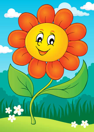 Happy flower theme image Illustration