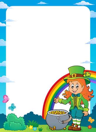 Leprechaun girl theme frame Illustration