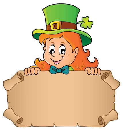 Leprechaun girl holding parchment