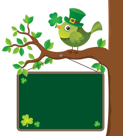 St Patricks Day theme board with bird Illustration