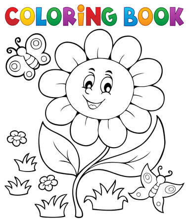Coloring book flower topic Illustration