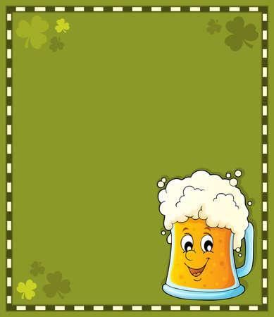 Beer theme frame vector illustration.