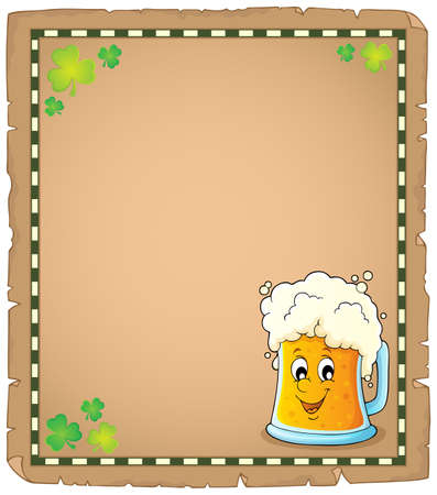 Beer theme parchment vector illustration.