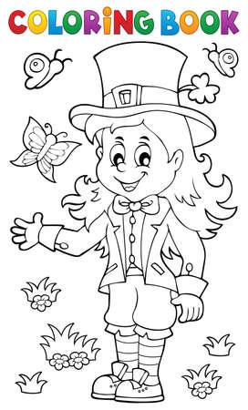Coloring book leprechaun girl theme